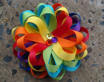 Rainbow Hair Bow Loopy Flower Hair Bow Round hair bow Loopy hair bow