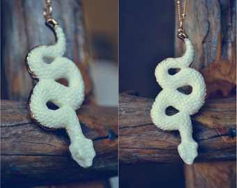 SNAKE NECKLACE  ///  Handcrafted Bone Necklace /// 24kt Gold Electroformed Bone