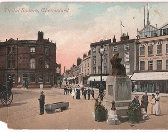 Old Postcard Antique Chelmsford England Tindal Square - English City Scene Statue and Storefronts Godfrey Store