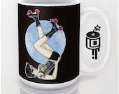 Roller Derby Dark pinup cobwebs and sugar mug Coffee mug Artwork by Lucy Dynamite