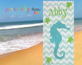 Seahorse Towel Personalized With Name, Beach Towel, Pool Towel, Camp Towel, Honeymoon Towel
