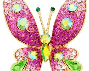 Pink Butterfly Crystal Pin Brooches(Chain Not Included) 1011621