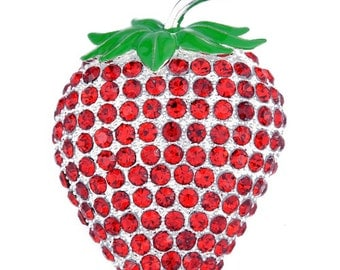 Red Strawberry Crystal Pin Brooch 1002351