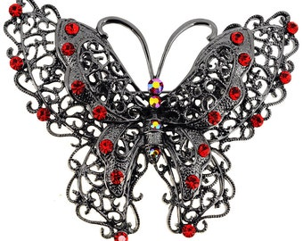 Antique Style Ruby Butterfly Pin Brooch 1001581