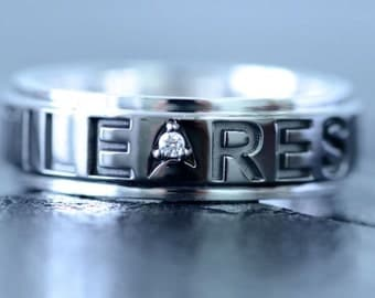 Star Trek Insignia, Borg Quote RESISTANCE IS FUTILE, Inspired Wedding Band White Gold Black & White Rhodium set with Diamond Made To Order