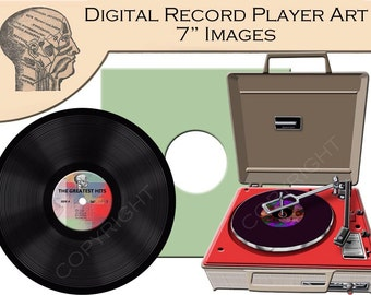 Digital Clip Art Graphics Record Player Vinyl Record Images Instant Download Printable