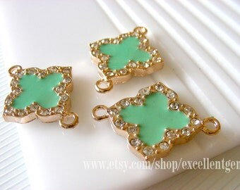 New-10pcs Gold plated Duble-sided Rhinestone Clover Connector with Mint green color-25mmx22mm