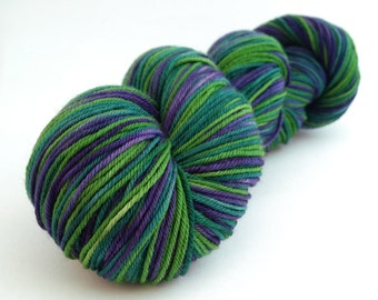 Handdyed Sock Yarn - Friendly Wizard - Purple and Green