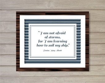 Nautical Louisa May Alcott Quote Wall Art Printable - 8x10 - Instant Download Sail Navy Blue Poster Room Nautical Home Decor Wall Art