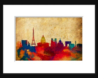 Paris France Skyline Print Poster Map