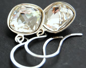 Clear Bridal Earrings, Swarovski Crystal Clear Drops, Square Cushion Faceted Crystal, Sterling Silver Earwires