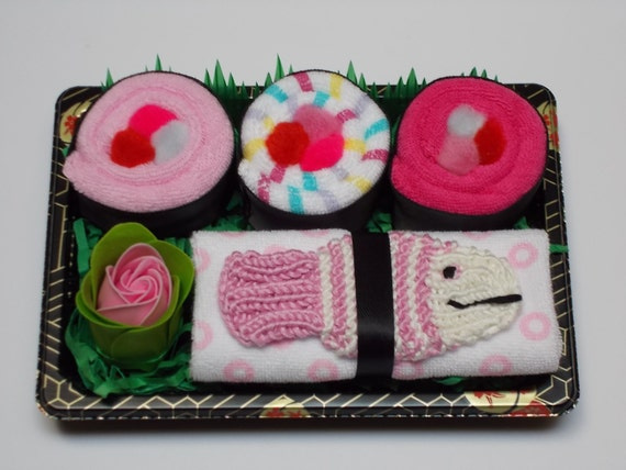 Baby Sushi Gift Set for Girls with Pink Fish Scrubby - Unique Baby Shower Gift