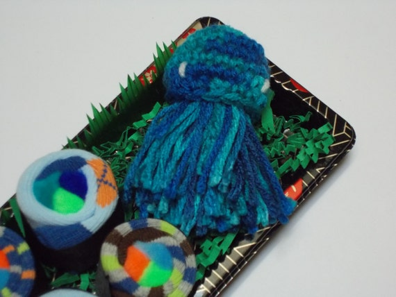 Baby Sock Sushi Gift Set - Green Jellyfish Toy - Boy Shower Gift