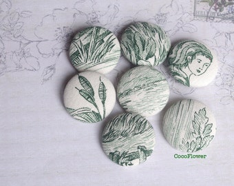 buttons for sewing fabric button French toile Green White Shabby Chic x7 28mm