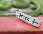 """i believe sterling silver hand stamped pendant necklace with cross on 18"""" chain"""