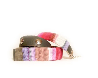 Colorful Wrap Bracelet, three layered leather and crochet bangle with metal rivets