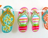 "Flip Flop Banner In The Hoop Project Machine Embroidery Designs Applique Patterns ITH in 6 sizes 4"", 5"", 6"", 7"", 8"" and 9"""