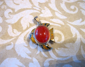 Vintage Silver Reversible FISH Pendant Fob with Carnelian Stone and Cloisonne
