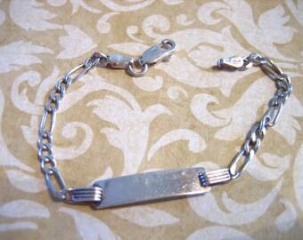 Vintage Sterling Silver Identification Bracelet