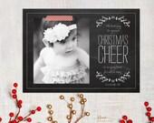Chalkboard Christmas Card - Cheer - 5x7 Printable JPEG DIY - Photo Greeting Card - Newlyweds or Newborn - Christmas Photo Card