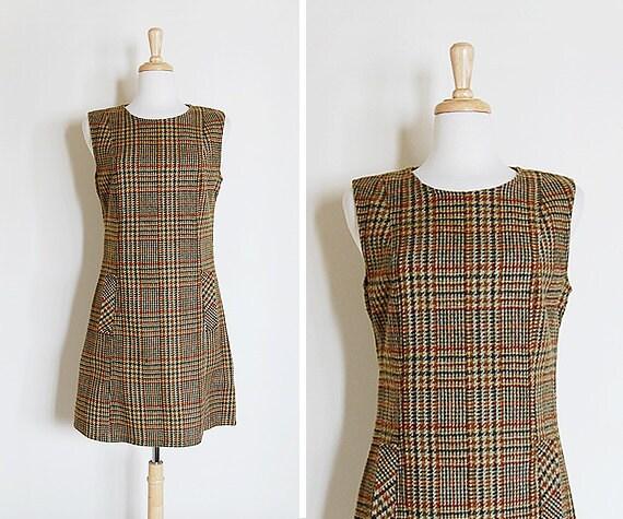 Vintage 1960s 60s Brown Plaid Tweed Wool Scooter Mini Dress