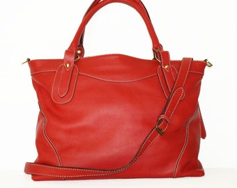 Red leather tote bag, leather handbag, leather shopper tote, leather cross-body bag Nora XL 17""