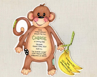 Personalized and Handcut Invitations - Birthday Party Invitations - Monkey Birthday Party Invitations - Set of 30