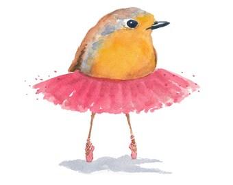 Ballet Bird Watercolor PRINT - 5x7 Print, Ballet Art, Robin Watercolor, Pink Tutu, Ballerina, Nursery Art