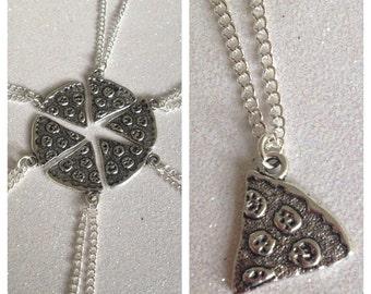 1 x Silver tone Pizza Slice Necklace Pendant Best Friends