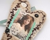 Victorian Inspired Shabby Chic Heart Vintage Girl Photo Brown Aqua