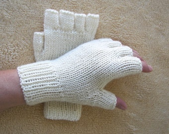 Hand Knit Half Finger Gloves in Soft Peruvian Wool White / Charcoal Gray / Jet Black/ Burgundy