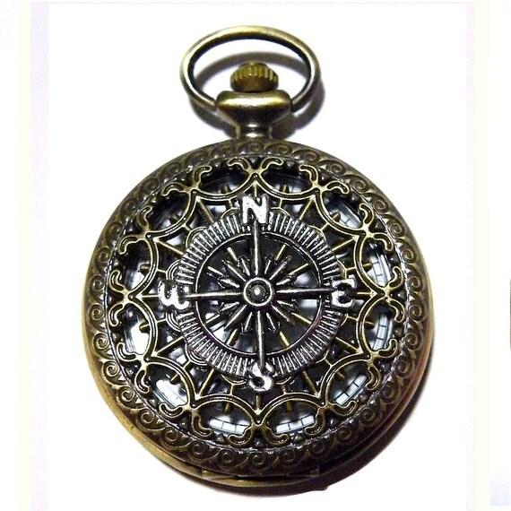 steunk silver compass pocket antique by tempusfugit