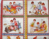 American Jane Wee Play vintage children playing Panel moda fabrics XL FQ panel or more