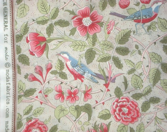 Pom Pom de Paris birds vines blooms oyster French General moda fabrics FQ