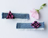Hair Clip Set Fuchsia Geometric Pattern Hair Clips. Pair of pink  black hair accessories. Little Gift for a girl  great stocking fillers!