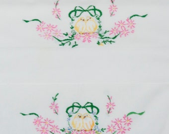 Pair of Vintage White Pillow Cases, Yellow Love Birds, pink, Blue, Yellow Flowers, Green Leaves and Ribbon, Hemmed