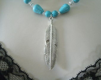 Silver Feather Necklace, southwestern jewelry southwest jewelry turquoise jewelry native american jewelry theme western jewelry country