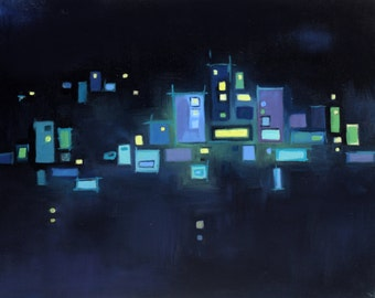 Abstract city oil painting