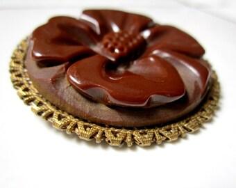 "Carved Bakelite Brooch Brown Clover Flower Vintage 2"" Round Pin"
