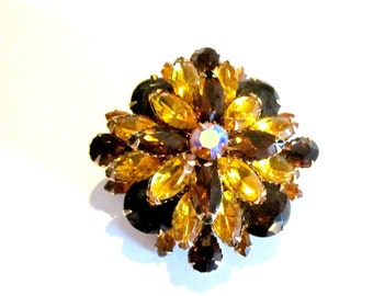 "Vintage Rhinestone Brooch Gift For Her Under 50 Jewelry Coffee Brown Gold Rhinestones Pin 2 1/4"" Large Brooch Gift Idea for Her"