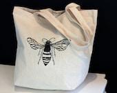 Bee screenprinted cotton tote - Reusable grocery bag - eco-friendly alternative - book bag