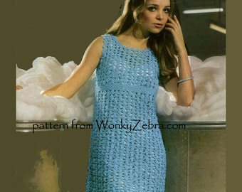 Vintage Crochet Dress Pattern PDF 635 from WonkyZebra