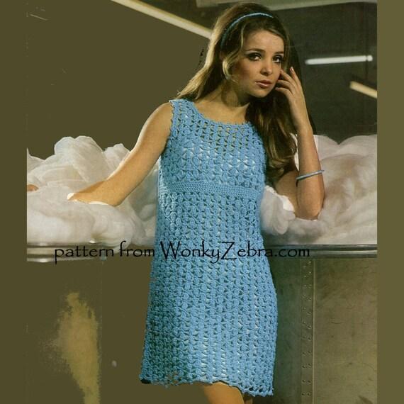 Vintage Crochet Dress Pattern PDF 635 from WonkyZebra