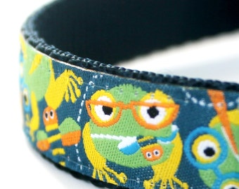 Frogs Dog Collar,  Adjustable Dog Collar, Navy Blue Collar,  Ribbon Dog Collar
