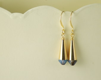 Flattering Cone earrings - Swarovski Blue/Black AB beads and gold plated metal - Hand assembled - Everyday jewelry - OOAK