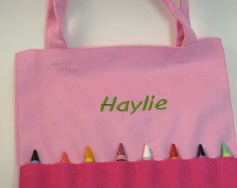 Personalized Bag,Crayon Tote,Purse, Crayola Bag,Embroidered Coloring Pouch