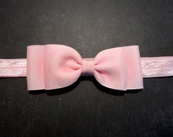 Light Pink Bow Headband. Pink Bow Headband. Pink Baby Headband. Baby Hair Accessories. Girls Hair Accessories. Baby Girls Hair Accessories