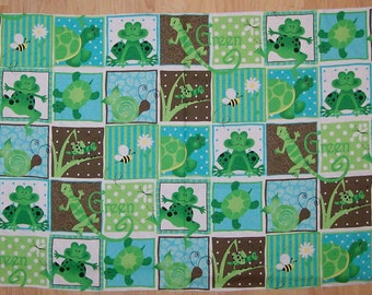 An Adorable G Is For Green With Frogs, Turtles, and Snails Cotton Fabric Panel Free US Shipping