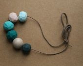 Clay Bead Necklace in Powder Blue, Pink , Turquoise, Dark Cyan, Natural Wood, Dark Green
