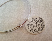 Hand stamped women's silver  or gold bronze bangle bracelet with quote We have this hope as an anchor for the soul firm and secure